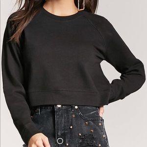 Forever 21 cropped sweatshirt black